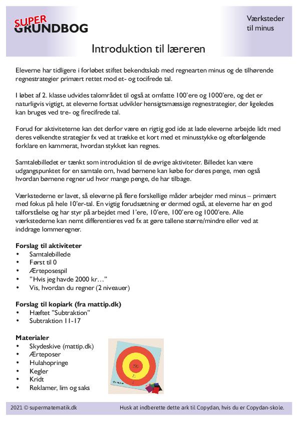 Kopiark/opgave:Minus introduktion til læreren