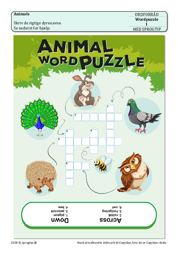 Kopiark/opgave:Wordpuzzle (3 ark)
