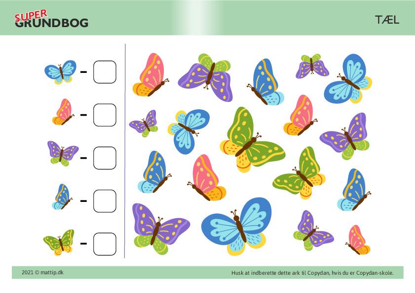 Kopiark/opgave:Tæl sommerfugle